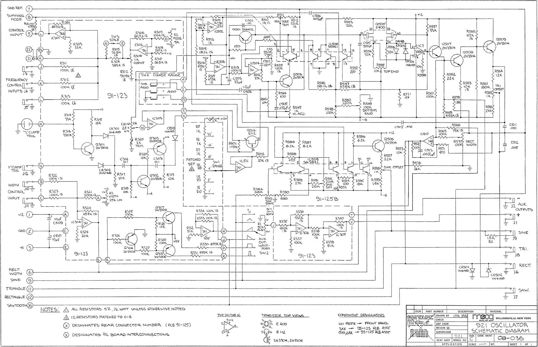 Synthesizer Schematics, User and Service Manuals.